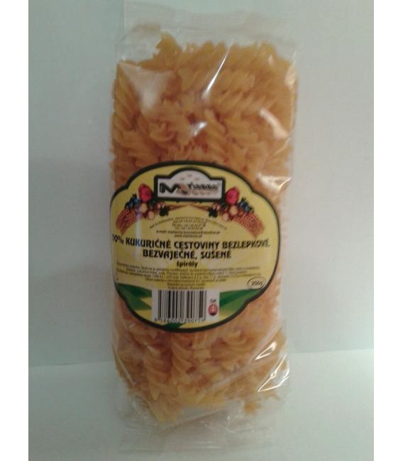 Kukuričné cestoviny bezlepkové, bezvaječné, sušené, špirály 250g