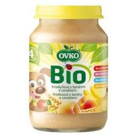 Dojčenská výživa broskyňová s banánmi a cereáliami 190g BIO OVKO