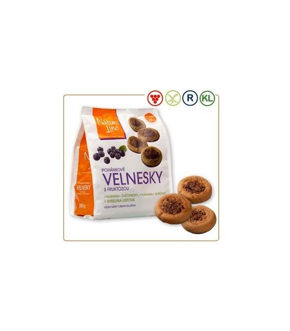 Velnesky pohánkové sušienky s fruktózou a čučoriedkami 200g