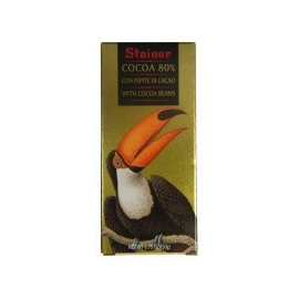 Čokoláda Stainer Animals horká 80% s bôbmi 50g
