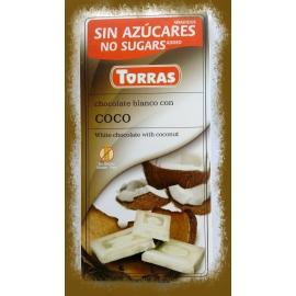 Dia čokoláda biela s kokosom 75g TORRAS